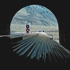 LIGHT AT THE END OF THE TUNNEL by Gary Colwell - Transportation Trains ( canada, train, rockies, light, tunnel,  )