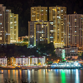 Island Lights by Keith Walmsley - Landscapes Waterscapes ( water, nightlight, reflection, buildings, ships )