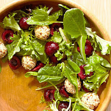 Mixed Greens with Cherries and Feta Cheese Balls