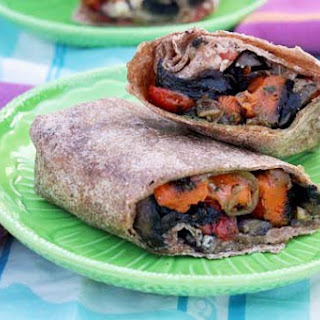 Roasted Sweet Potato Wraps with Caramelized Onions and Pesto