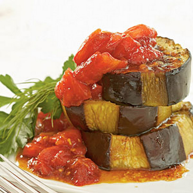 Olive Oil-Braised Eggplant with Fresh Tomato and Pomegranate Sauce ...
