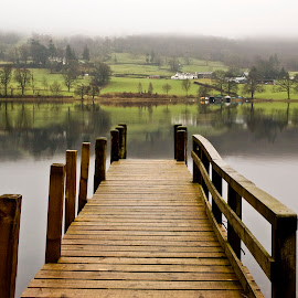 Coniston Jetty, Cumbria, England by Simon Harding - Landscapes Waterscapes ( water, clouds, reflection, cumbria, reflections, simon harding, lake, jetty, landscape, nikon d70, lake district, coniston, england, english, mist )