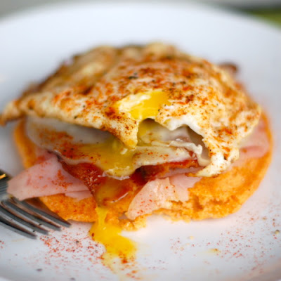 Spicy Corn Cake Breakfast Stack
