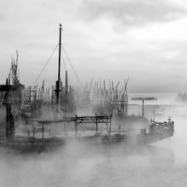 Lost Horizon by Winkie Chau - Black & White Landscapes ( thermal, black and white, horizon, landscape, boat,  )