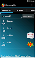 Screenshot of Smart Shopping List