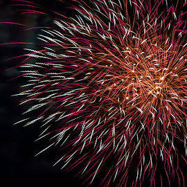 Australia Day by BK Roberts - Abstract Fire & Fireworks ( colour, red, white, burst )