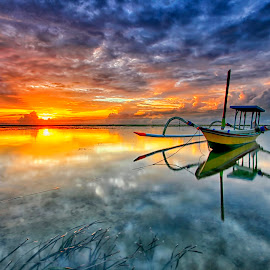 Shine by Agus Eka Kurniawan - Transportation Boats ( bali, cloud, sunrise, beach, boat, landscape )