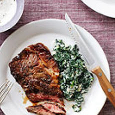 Eye Round with Horseradish Sauce and Creamed Spinach