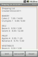 Screenshot of Shopping List Maker