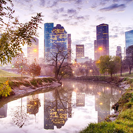 Skyline Over the Bayou by Robb Harper - City,  Street & Park  Skylines ( water, buffalo bayou, reflection, skyline, texas, houston, sunrise, downtown )