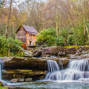 Old Grist Mill by Jacob Padrul - Landscapes Waterscapes ( countryside, water mill, old, waterfalls, serenity, waterfall, old fashioned, relaxation, rustic, waterflow )