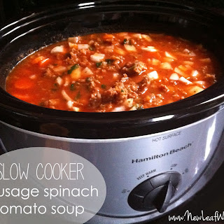 Slow Cooker Sausage Spinach Tomato Soup