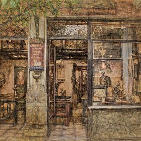 Athens Storefront by Dennis Granzow - Digital Art Places ( europe, greece, athens, travel, drawing )