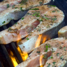 Spicy Grilled Salmon Steaks with Black Butter
