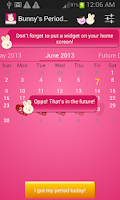 Screenshot of Bunnys Period Calendar/Tracker
