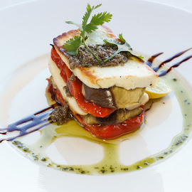 Fried Halloumi Cheese by Katerina Galkina - Food & Drink Plated Food ( dinner, starter, food, cheese, fried cheese )