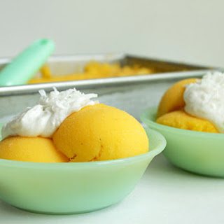 Easy Mango Sorbet with Coconut Cream
