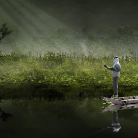 mancing by Indra Prihantoro - Digital Art Places ( landscape, people )