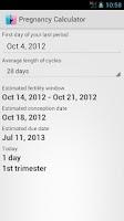 Screenshot of Pregnancy Calculator