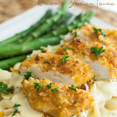 Crispy Chicken with Creamy Italian Sauce