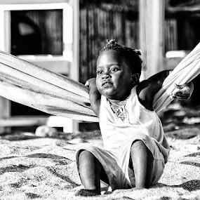Carefree Childhood B/W by Giannis Paraschou - Black & White Street & Candid ( playing on thw beach, playing in the hammock, carefree childhood b/w, child at beach,  )