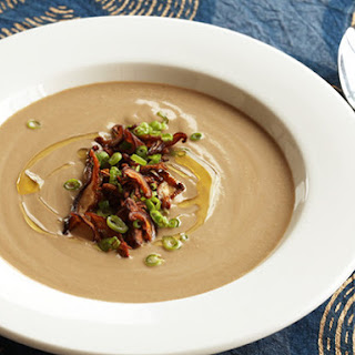 Vegan Cream of Mushroom Soup With Crispy Shiitake Chips
