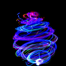 by Judy Rosanno - Abstract Light Painting ( abstract, lights, light painting, abstract art, blue )