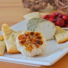 Goat Cheese, Roasted Garlic, Cranberry Compote Appetizer