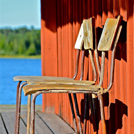 chairs in the sun by Maritha Juhlin - Artistic Objects Furniture ( sunchairs, chair, waiting in the evening sun, emty chairs, wooden chair, chairs in the sun )