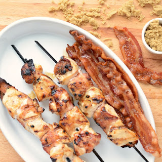 Brown Sugar Bacon Wrapped Chicken Skewers