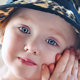 Serenity by Cheryl Korotky - Babies & Children Child Portraits ( child, model, leopard print, a heartbeati in time photography, children in hats, amazing faces, nevaeh, blue eyes, beautiful children,  )