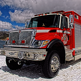Big Bear Lake Fire Department by Janet Aguila Krause - Transportation Other ( socal, big bear lake fire department, fire and rescue, meadow park, swim beach, fire truck, fire department, big bear lake )