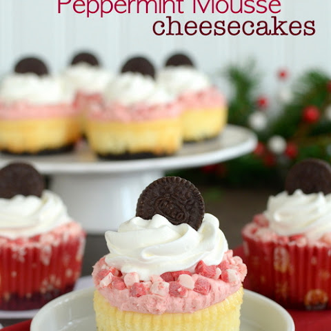 White Chocolate Peppermint Mousse Cheesecakes