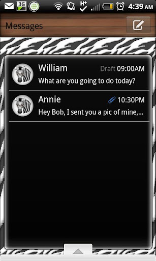 GO SMS - Zebra 3D
