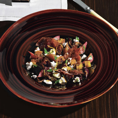 Beet Salad with Cornbread Croutons and Country Ham