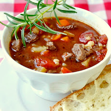 Easy Beef Barley and Tomato Soup