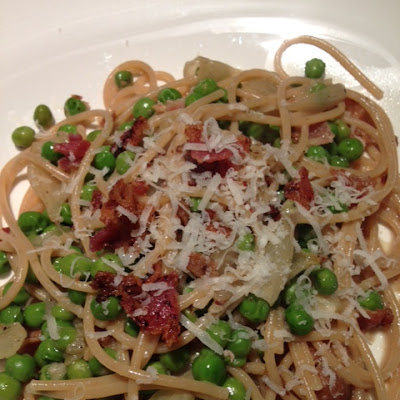 Spring Vegetable Pasta with a Hint of Bacon