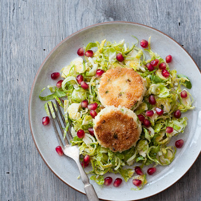 Shaved Brussels Sprout Salad with Pan-Fried Goat Cheese