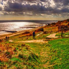 Path down to the beach by Carl Surry - Landscapes Beaches ( essex, path, walton, seaside, beach, coast )