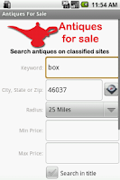 Screenshot of Antiques for Sale