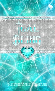 Bling Teal Heart Theme Go SMS - screenshot