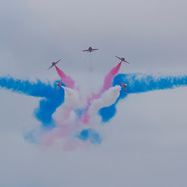 B Reds 9  by Kelly Murdoch - Transportation Airplanes ( red arrows, uk, airplanes, white, jets, bournemouth, smoke, england, sky, red, zam, blue, raf, planes )