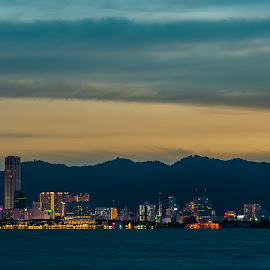 Beauty of Penang George Town by Chin Fei Ng - Landscapes Travel ( blue hour; george town; buildings; clouds; mountains )