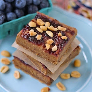 Healthy Peanut Butter and Jelly Blondies