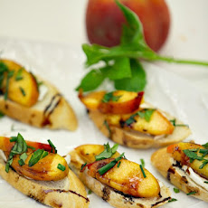 Grilled Peach and Mozzarella Crostini