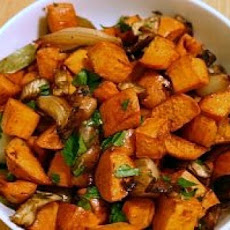 Roasted Sweet Potatoes with Mushrooms and Shallots
