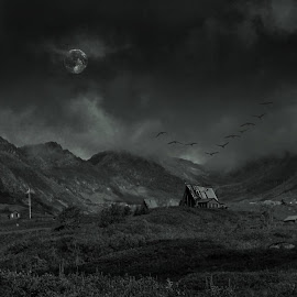 Abandoned mining settlement, Alaska.  Original photograph by Mike Koplen.   click on photo to see properly. by Michael Koplen - Landscapes Mountains & Hills