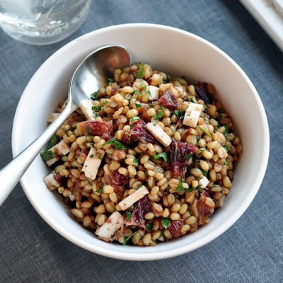 Wheat Berry Salad with Blood Oranges, Feta, and Red Onion Vinaigrette