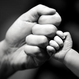 First Fist Bump by Mike DeMicco - Babies & Children Hands & Feet ( sweet, b&w, hands, black and white, funny, fist, baby, bump, cute, boy, first, newborn, fist bump )