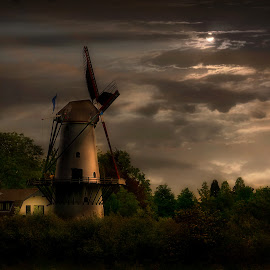 Windmill by moonlight by John Davidson - Buildings & Architecture Public & Historical